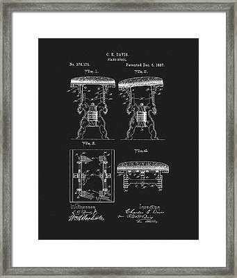 1887 Piano Stool Patent Framed Print by Dan Sproul