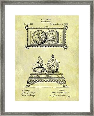 1888 Alarm Clock Patent Framed Print by Dan Sproul