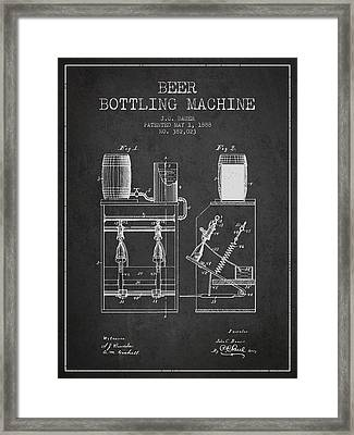 1888 Beer Bottling Machine Patent - Charcoal Framed Print by Aged Pixel