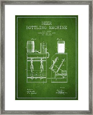 1888 Beer Bottling Machine Patent - Green Framed Print by Aged Pixel