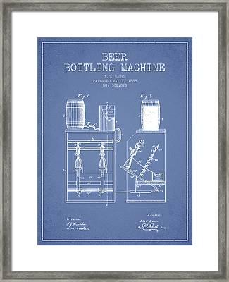 1888 Beer Bottling Machine Patent - Light Blue Framed Print by Aged Pixel