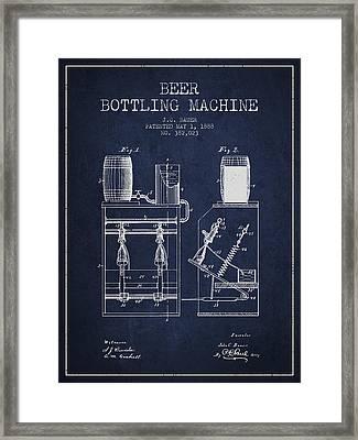 1888 Beer Bottling Machine Patent - Navy Blue Framed Print by Aged Pixel