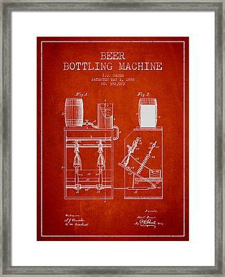 1888 Beer Bottling Machine Patent - Red Framed Print by Aged Pixel