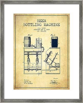 1888 Beer Bottling Machine Patent - Vintage Framed Print by Aged Pixel