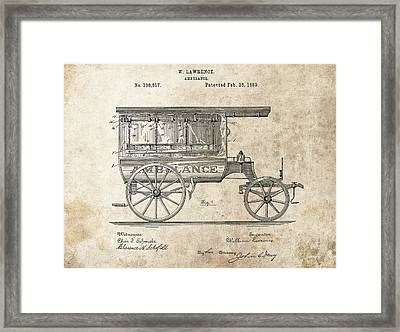 1889 Ambulance Patent Framed Print by Dan Sproul