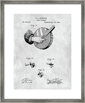 1889 Banjo Patent Blueprint Framed Print by Dan Sproul