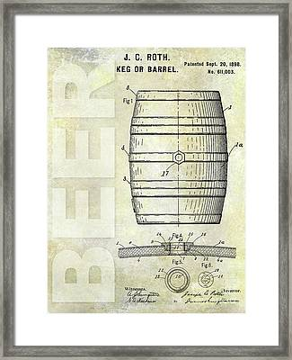 1889 Beer Barrel Patent Framed Print