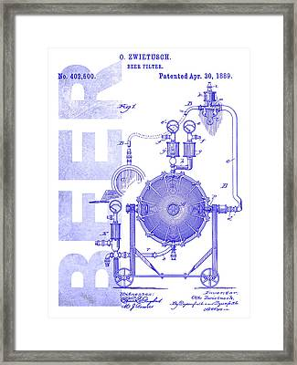 1889 Beer Filter Patent Blueprint Framed Print