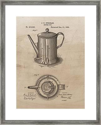 1889 Coffee Pot Patent Illustration Framed Print