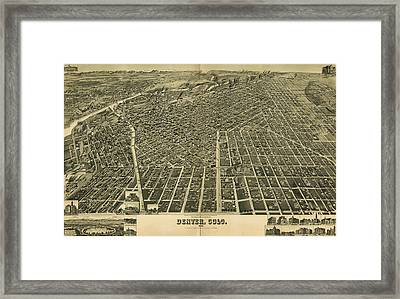 1889 Denver Colorado Map Framed Print by Dan Sproul