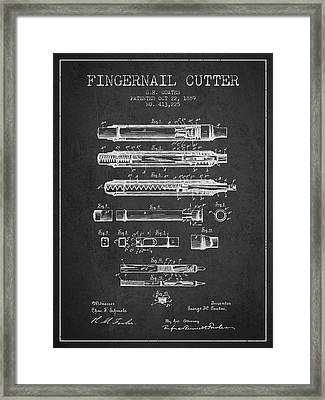 1889 Fingernail Cutter Patent - Charcoal Framed Print by Aged Pixel