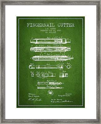 1889 Fingernail Cutter Patent - Green Framed Print by Aged Pixel