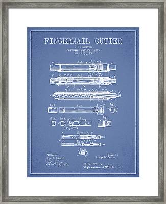 1889 Fingernail Cutter Patent - Light Blue Framed Print by Aged Pixel