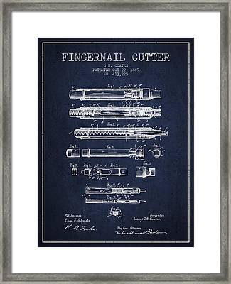 1889 Fingernail Cutter Patent - Navy Blue Framed Print by Aged Pixel