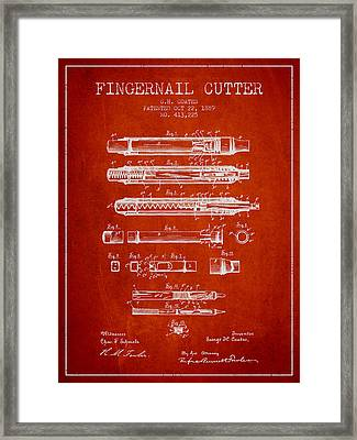 1889 Fingernail Cutter Patent - Red Framed Print by Aged Pixel