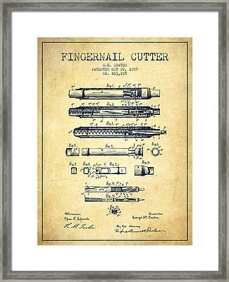 1889 Fingernail Cutter Patent - Vintage Framed Print by Aged Pixel