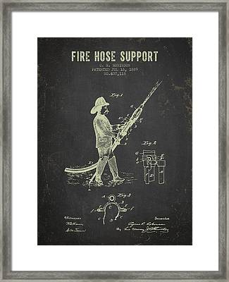 1889 Fire Hose Support Patent- Dark Grunge Framed Print by Aged Pixel