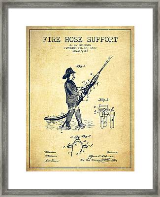 1889 Fire Hose Support Patent - Vintage Framed Print by Aged Pixel