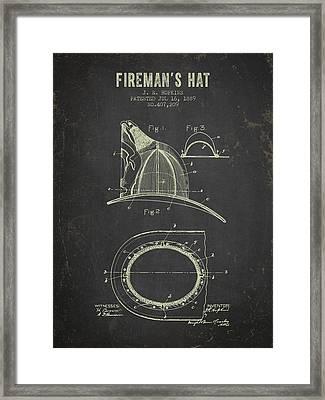 1889 Firemans Hat Patent - Dark Grunge Framed Print