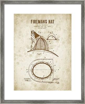 1889 Firemans Hat Patent - Vintage Grunge Framed Print by Aged Pixel
