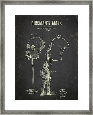 1889 Firemans Mask Patent - Dark Grunge Framed Print