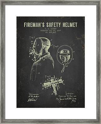 1889 Firemans Safety Helmet Patent - Dark Grunge Framed Print