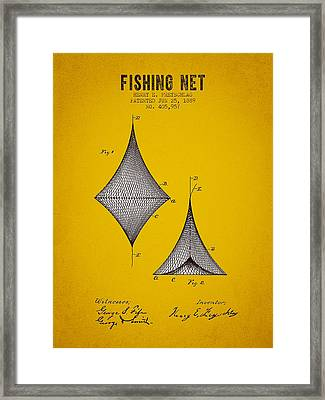 1889 Fishing Net Patent - Yellow Brown Framed Print by Aged Pixel