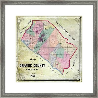 1889 Orange County California Map Framed Print by Jon Neidert