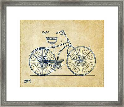 1890 Bicycle Patent Minimal - Vintage Framed Print by Nikki Marie Smith