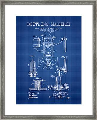 1890 Bottling Machine Patent - Blueprint Framed Print by Aged Pixel