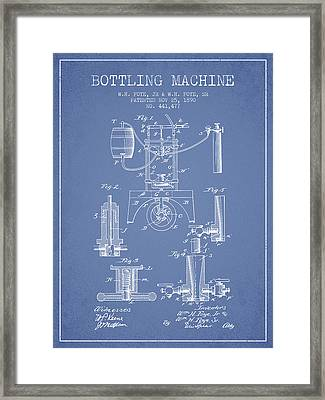 1890 Bottling Machine Patent - Light Blue Framed Print