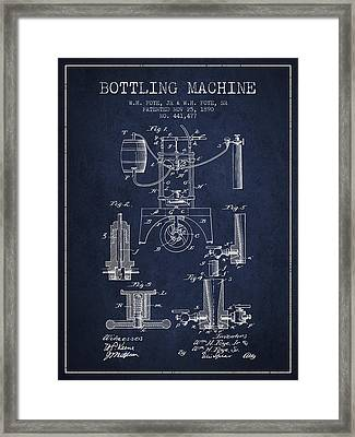 1890 Bottling Machine Patent - Navy Blue Framed Print
