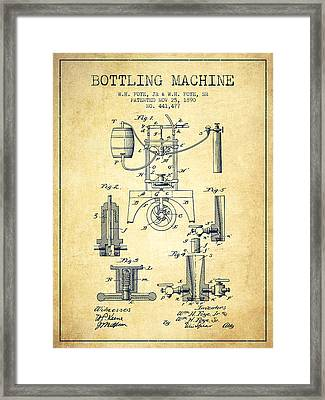 1890 Bottling Machine Patent - Vintage Framed Print by Aged Pixel