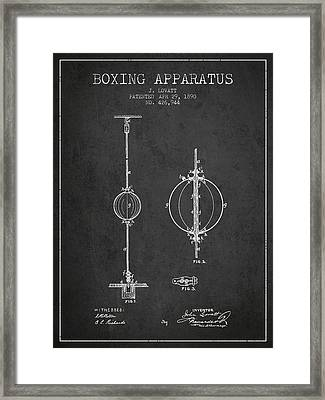 1890 Boxing Apparatus Patent Spbx17_cg Framed Print by Aged Pixel