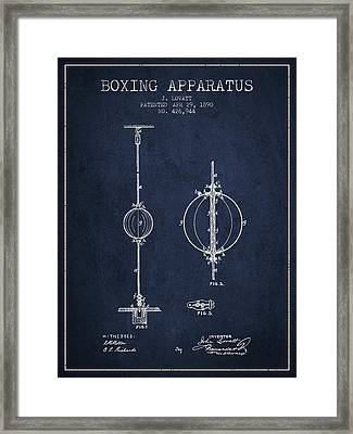 1890 Boxing Apparatus Patent Spbx17_nb Framed Print by Aged Pixel