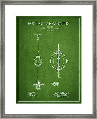 1890 Boxing Apparatus Patent Spbx17_pg Framed Print by Aged Pixel