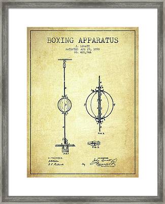 1890 Boxing Apparatus Patent Spbx17_vn Framed Print by Aged Pixel