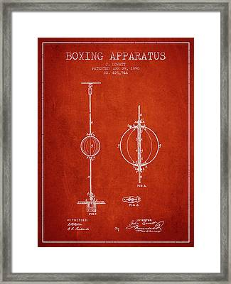 1890 Boxing Apparatus Patent Spbx17_vr Framed Print by Aged Pixel