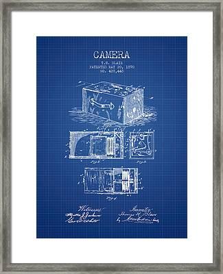 1890 Camera Patent - Blueprint Framed Print by Aged Pixel