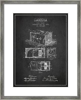 1890 Camera Patent - Charcoal Framed Print by Aged Pixel
