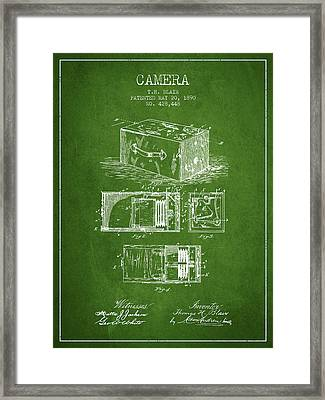 1890 Camera Patent - Green Framed Print by Aged Pixel