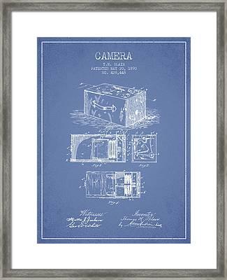 1890 Camera Patent - Light Blue Framed Print by Aged Pixel