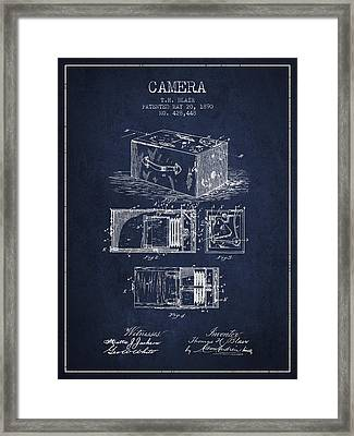 1890 Camera Patent - Navy Blue Framed Print by Aged Pixel