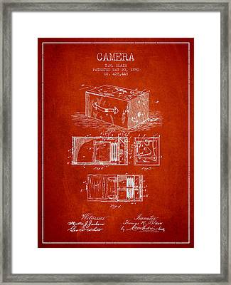 1890 Camera Patent - Red Framed Print by Aged Pixel