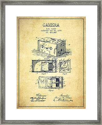 1890 Camera Patent - Vintage Framed Print by Aged Pixel