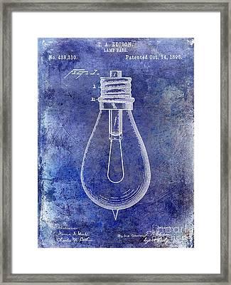 1890 Light Bulb Patent Blue Framed Print by Jon Neidert