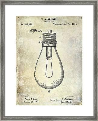 1890 Light Bulb Patent Framed Print by Jon Neidert