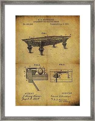 1891 Billiards Table Patent Framed Print