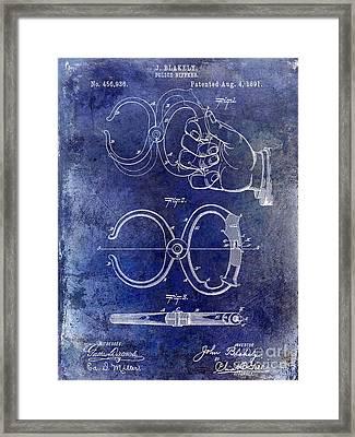1891 Handcuff Patent Blue Framed Print