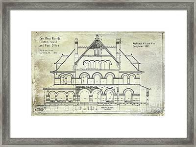 1891 Key West Blueprint Of The Custom House Framed Print by Jon Neidert